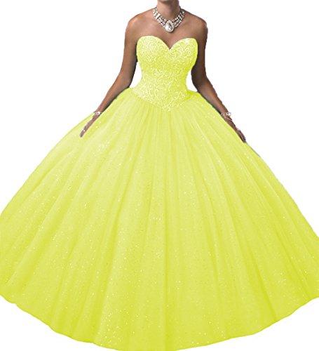 O.D.W Prinzessin A-Linie Betäubung Lange Quinceanera Party Kleider Formales Ballkleider Süße 15 Kleid(Gelb, 32)