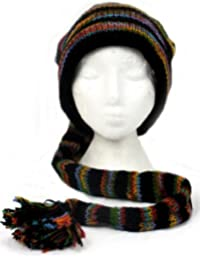 SLOUCH BEANIE BLACK & RAINBOW STRIPE HIPPIE FESTIVAL TAIL HAT Wool Knit & Lined