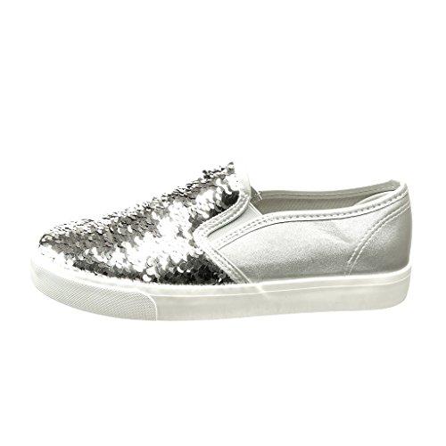 Angkorly Scarpe Da Donna Sneaker - Slip-on - Glitter - Tacco Piatto Lucido 2,5 Cm Argento