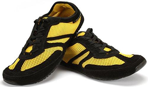 Magical Shoes Explorer Barfußschuhe | Damen | Herren | Jugendliche | Laufschuhe | Zero Drop | Flexibel | Rutschfest, Größen:45/288mm, Farbe:MS Explorer Lemon Splash - Gelb/Schwarz (Spa Splash)