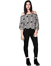 Secret Bazaar Women's Printed Black & White Crop Top & off Shoulder Top with Strap Neck Rayon Crepe Fabric