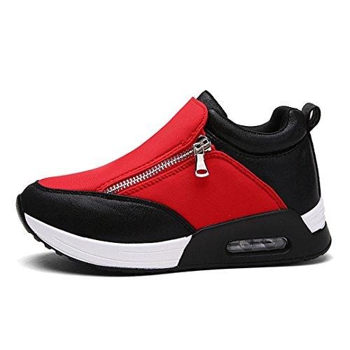 Damen Slipper Plateau mit Luftkissen Mosaik-Farben Rundzehen Strapazierfähig Reißverschluss Sportlich Modisch Schick Freizeit Schuhe Rot