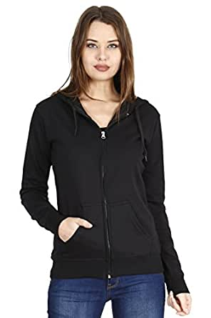 FLEXIMAA Women's Cotton Plain Full Sleeve Hoodies (Black, Small)