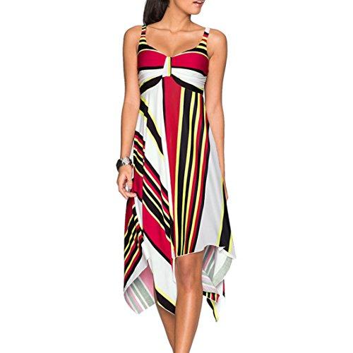 Shinekoo Femmes Sans Manches V Cou Irrégulière Enveloppé Coffret Floral Harnais Robe Jaune