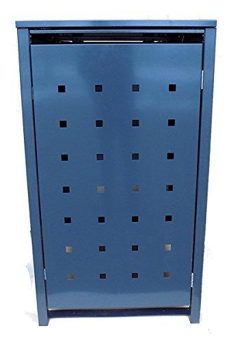 BBT@ | Hochwertige Mülltonnenbox für 3 Tonnen je 120 Liter mit Klappdeckel in Grau (RAL 7016) / Stanzung 5 / Aus stabilem pulver-beschichtetem Metall / Verschiedene Farben + Blech-Stanzungen erhältlich / Mülltonnenverkleidung Müllboxen Müllcontainer - 2