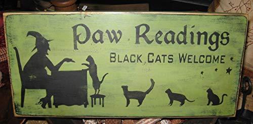 Evan332Eddie Pfotenabdrücke Hexe Primitive Holzschild Halloween Katzen Kätzchen Wand hängend Home Decor Plaque Wicca Fall