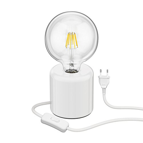 ledscom.de Tischlampe TIPO Porzellan rund weiß Kugel inkl. E27 G125 Filament Lampe 6W=60W warm-weiß 800lm -