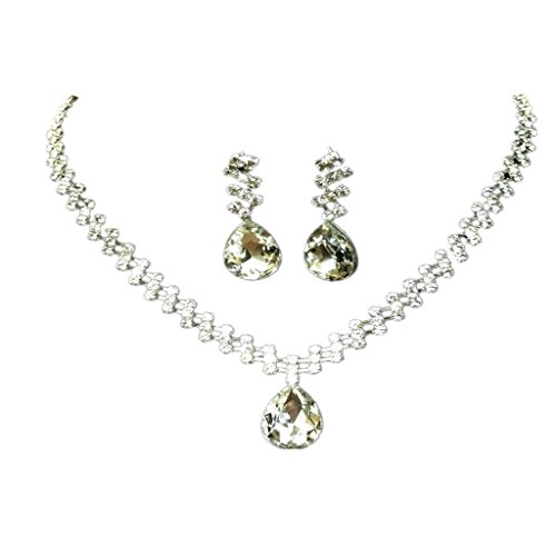 Imported Wedding Bridal Jewelry Set Crystal Rhinestone Crystal Necklace Earrings  available at amazon for Rs.405
