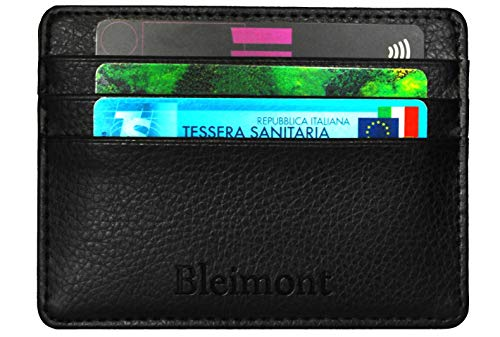 Portafoglio Uomo Piccolo Slim Sottile Bleimont 2a Generazione Blocco RFID Porta Carte Di Credito 4 Scomparti Pelle Nero