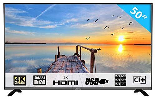 HKC 50F1: 127 cm (50 Zoll) Smart-TV LED Fernseher (4K Ultra HD, Triple Tuner, Andoid 6.0, CI+, Mediaplayer USB 2.0) [Energieklasse A] (Led 50 Tv)