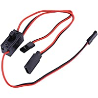 Dilwe RC Control Receptor Interruptor de Alimentación Tres Interfaces Batería Encendida/Apagada con Conector de Plomo JR & Cable de Carga para Futaba