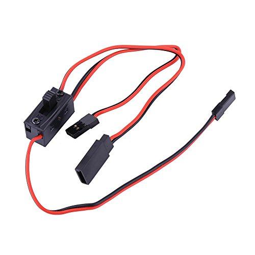 Dilwe RC Netzschalter, 3-Wege-Schalter Empfänger Batterie EIN / Aus-Schalter mit JR Blei Stecker & Ladekabel für Futaba