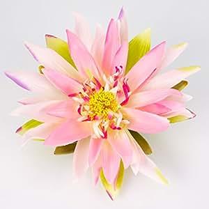 Fleur de nénuphar en tissu, rose, flottante 7 cm, Ø 21 cm - Lotus artificiel / Nénuphar artificiel - artplants