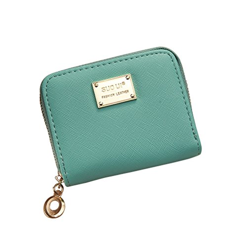 Tinksky Klein Portemonnaie mit Reißverschluss Damen Kleine Geldbeutel PU Leder Brieftasche für Frauen Mädchen (Grün) (Brieftasche Mit Reißverschluss)