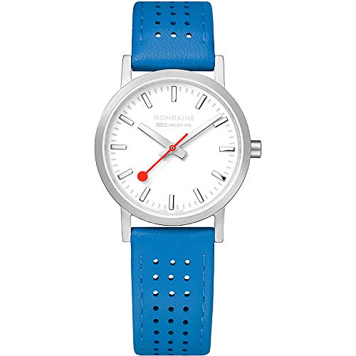 Mondaine SBB Classic White Dial Blue Leather Strap Ladies' Watch