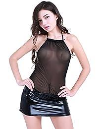FEESHOW Vestido elástica malla fishnet stretch Pijama Falda de Charol Cuello Halter Transparentes