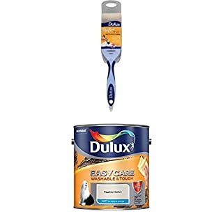 Dulux Perfect Finish Brush, 2 inch (Blue) with Easycare Washable and Tough Matt (Egyptian Cotton)