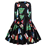 Luckycat Damen Vintage Print Langarm Weihnachts Abend Party Swing Kleid Abendkleider Cocktailkleid Partykleider Blusenkleid Mode 2018
