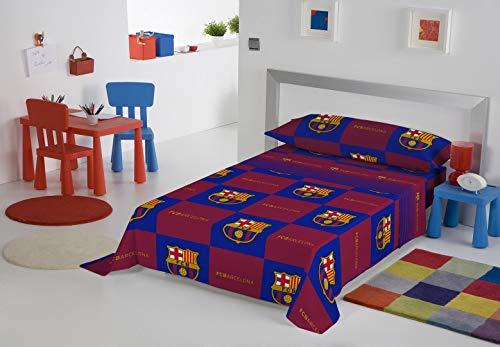 Juego de sábanas de tres piezas del Fútbol Club Barcelona. 50% algodón. Incluye una sábana encimera de 160x270 cm, una bajera de 90x200 cm, y una funda de almohada de 45x110 cm. Modelo: BARCELONA