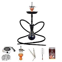 Caesar 4kings Arabic Shisha Set 4er - 70 cm - Komplettset mit 2 Silikonschläuche (Black), Premium Anzündkamin, Kohle (2,5cm) & Pfeifenreiniger - für Bowl | Matt Black/Shining Light Black