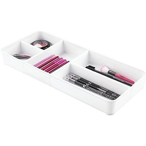 mDesign - Bandeja organizadora de cosméticos, para el gabinete del tocador; guarda maquillaje, productos de belleza - Blanco