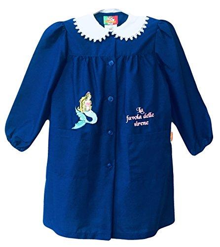 Confezioni mariano grembiule scuola made in italy - elementare bambina colore blu -ricamo sirena - abbottonatura centrale con bottoni, colletto bianco con ricamo.
