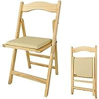 SoBuy® Sedia pieghevole,Stil Sedia,Sedie da scrivania,con cuscino ,natura, FST06-N,IT