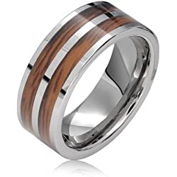Bling Jewelry Fila Doble Banda De Boda En Madera Koa Anillos De Tungsteno para Hombres Y para Mujer Y Ajuste Confort Tono Plata 8Mm