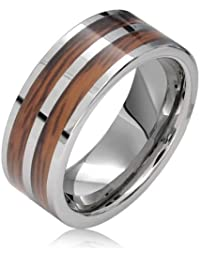 Bling Jewelry Incrustaciones en madera marrón Anillo Tungsteno Doble fila Anillo de Hombre