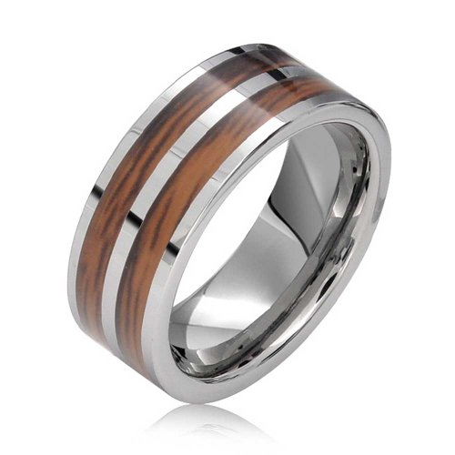 Bling Jewelry Zweireihige Koa Holz Inlay Ehering Ringe Tungsten Ringe Für Herren Für Damen Silber Ton Comfort Fit 8MM - Ehering 8mm