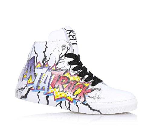 BE KOOL - Sneaker bianca stringata in pelle, ispirata dal mondo dell'arte di strada, con chiusura a zip laterale, occhielli in metallo,, Unisex Bambino-32