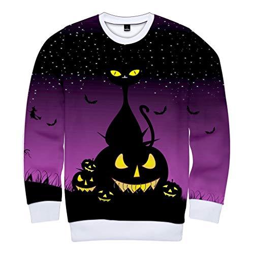 WERVOT Bluse Sweatshirts Herren Herbst Lässig Feste Hüfte Pop Loose Fit Fleece Langarm Hoodie Top Halloween -