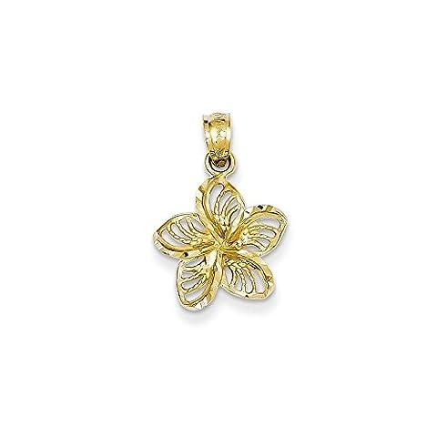 Yellow-gold 14K Diamond-cut Filigree Plumeria Pendant