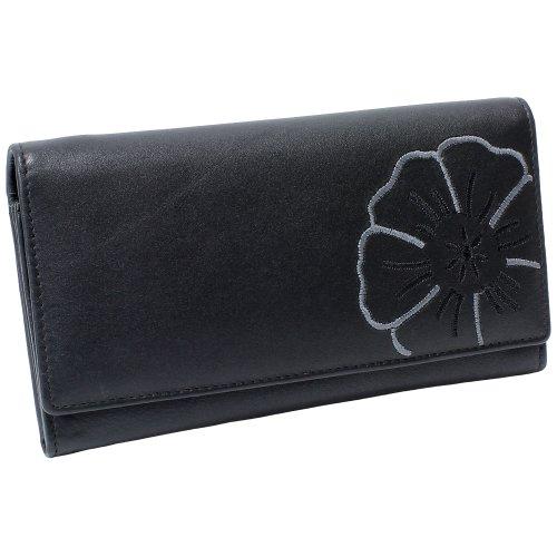 Branco Damen Leder Geldbörse schwarz