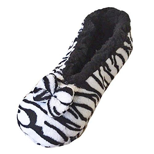 Damen-Frauen Tootsies Plush Animal Print Hausschuhe One Size, um 37-41 passen-ZEBRA (Zebra-print-stiefel)