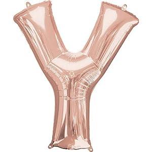 Anagram- Globo de aluminio de 40 cm de la letra Y en color oro rosa, dorado, y (7A3747611)