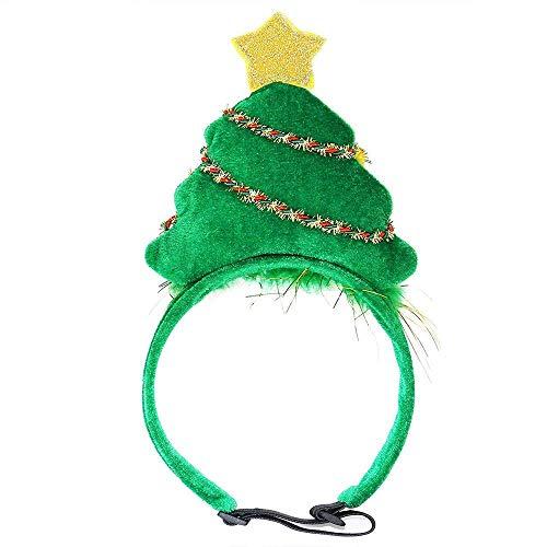 Wankd Kopfbedeckung für Hunde und Katzen, Weihnachtsbaum, verstellbares Elastisches Bungee, für Weihnachten