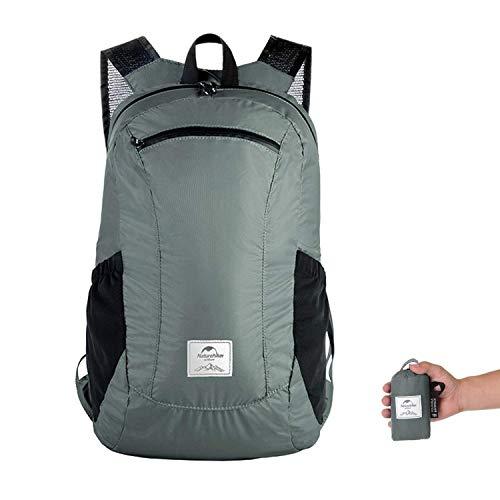 Faltbar Rucksack, leicht verstaubar, wasserabweisend, für Schule, Reisen, Sport, wasserdicht, extrem leicht, unisex, 18 l Grau Urban Grey