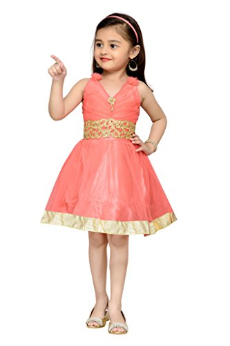 Adiva Girl's Party Wear Frock (G_1770_ORANGE_0)  available at amazon for Rs.399