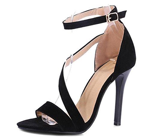XDGG Womens artificiale dellunità di elaborazione High Heel traspirante ballo sandali di sera del partito da sposa black