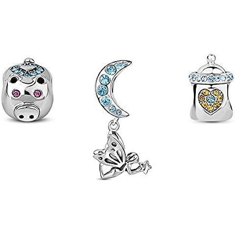 Tiny sabbia Donna, Moon Stella Luna bewaesserungs Graben da donna per Charm in argento Sterling 925donne elegante regalo