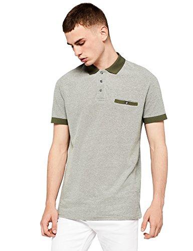 find. Herren Poloshirt mit farblich abgesetzten Details, Grün (Dk Khaki And White), 56 (Herstellergröße: XX-Large) Dk Khaki