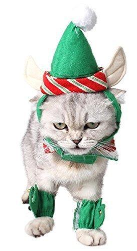 hen Hund Katze Deluxe Elfen Hut Kragen Manschetten Weihnachten Kostüm Kleid Kostüm Outfit Zubehör Set (Kragen Und Manschetten Kostüme)