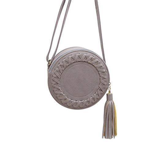 Small Round Women Tassel Bag Soft PU Leather Ladies Cute Single Shoulder Bag (Tassel-tool)