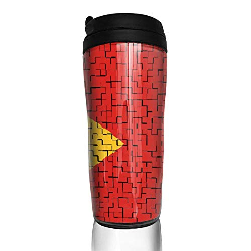 Travel Coffee Mug Timor-Leste Flag Puzzle 12 Oz Spill Proof Flip Lid Water Bottle Environmental Protection Material ABS