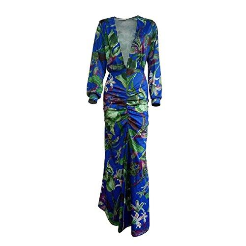 SHISHANG Robe de dames mode haut standard robe imprimée col V été élastique rose vert green
