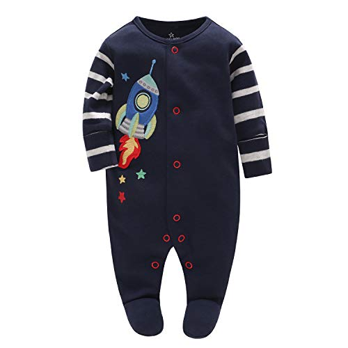 Baby Overall Footies Strampler Pyjama Baumwolle Schlafanzug Langarm Body 3-6 Monate