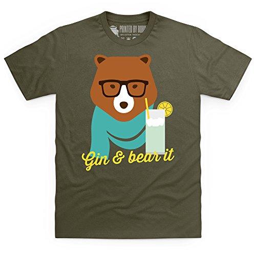 Gin & Bear It T-Shirt, Herren Olivgrn