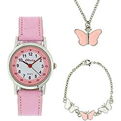 Montre, Pendentif et Bracelet à Papillons de The Olivia Collection. Set Cadeau KS002