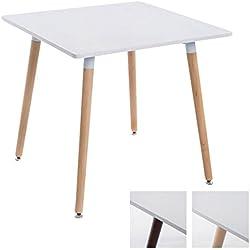 CLP Table à Manger BENTE, carrée, 4 Pieds en Bois, 80 x 80 cm, Design, avec protège-Sol Plateau: Blanc/piètement: Nature